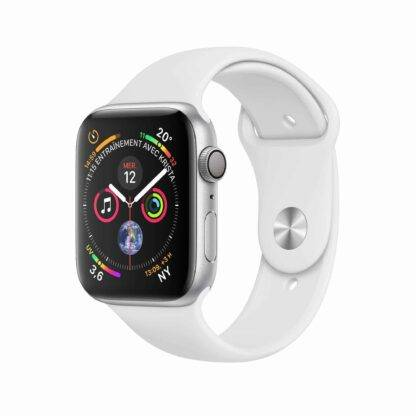 Montre Apple Watch Series 4 Aluminium Argent Sport blanche