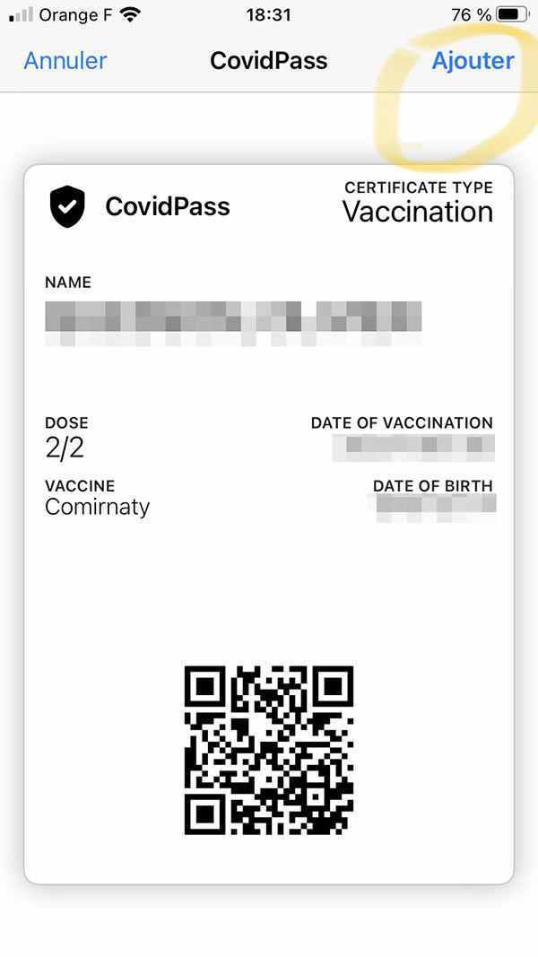 ajoutez le QR-code du Pass Sanitaire