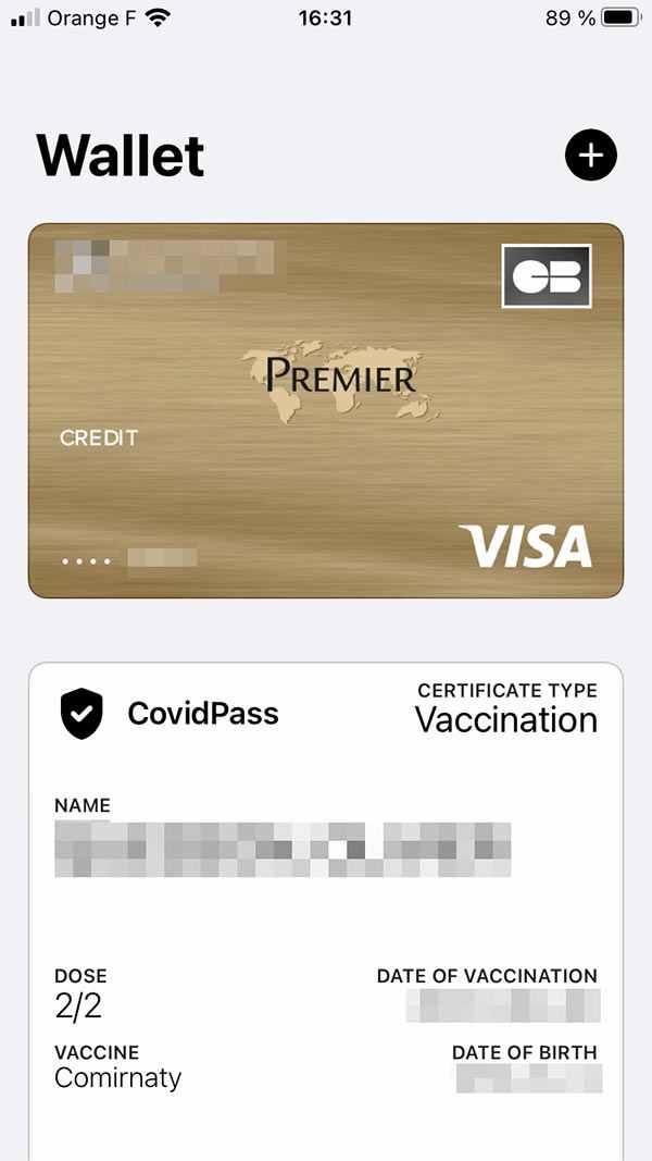covidpass wallet sur iPhone