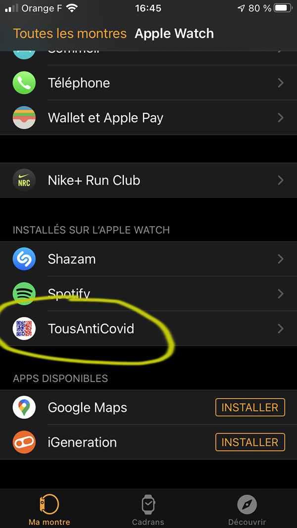 TousAntiCovid sur Apple Watch